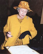 HM The Queen signing the Register of Knighthood after the Annual Knights' Service in 1996.